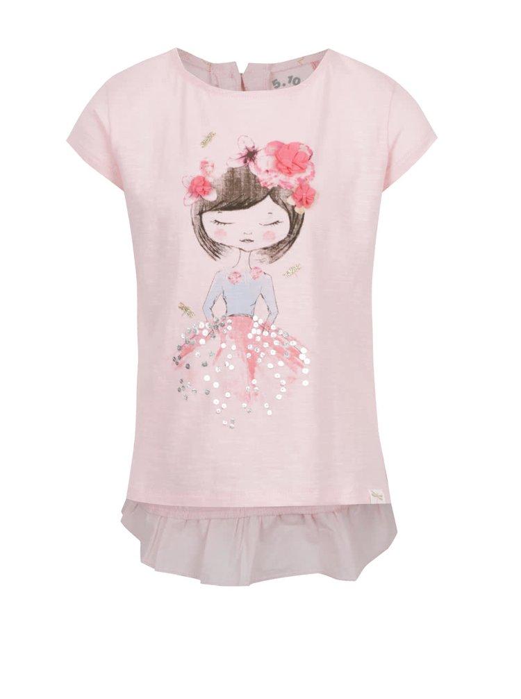 Růžové holčičí tričko s potiskem a aplikací květin 5.10.15.