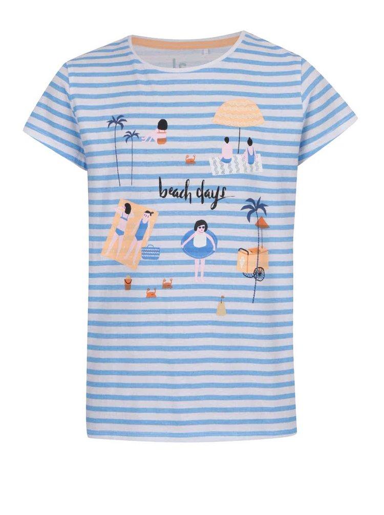 Bílo-modré holčičí tričko s potiskem 5.10.15.