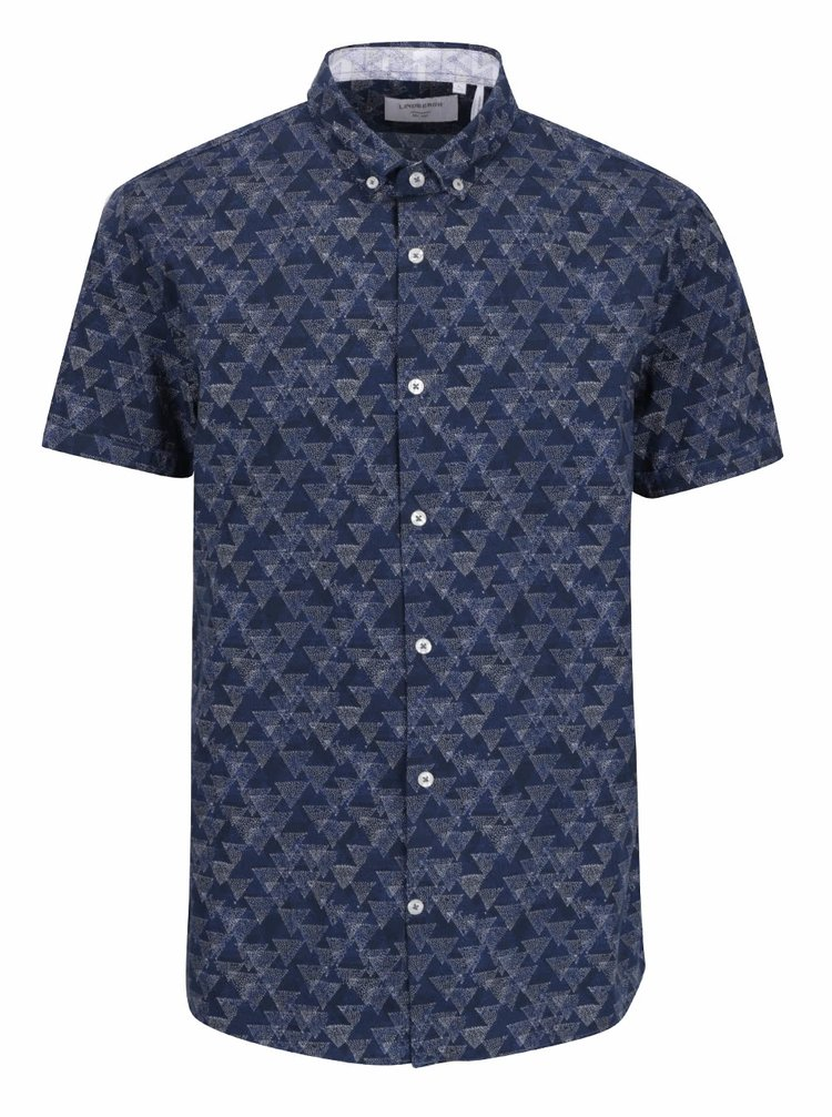 Tmavě modrá vzorovaná košile s krátkým rukávem Lindbergh