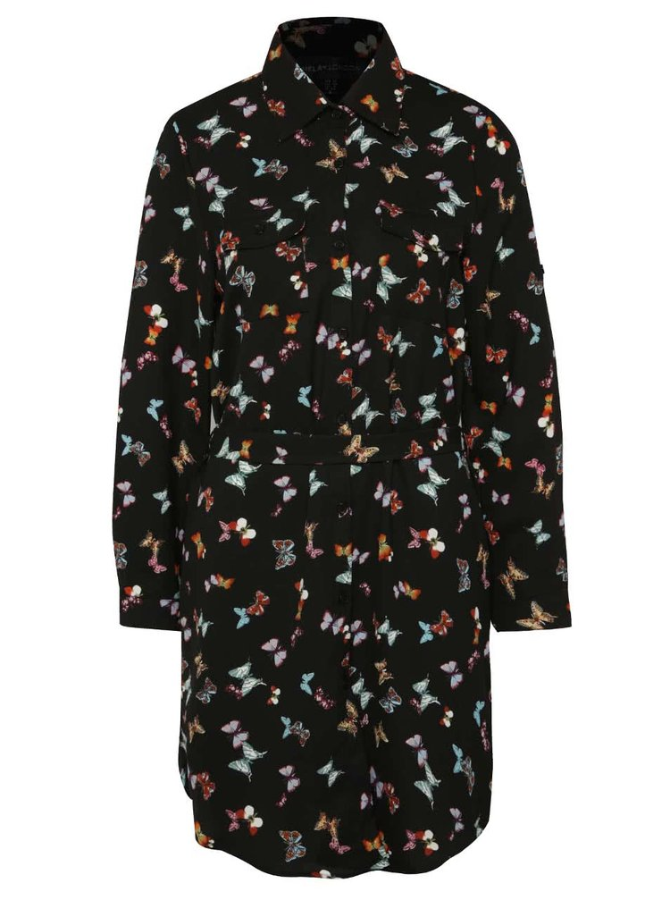 Rochie tip cămașă neagră Mela London cu imprimeu