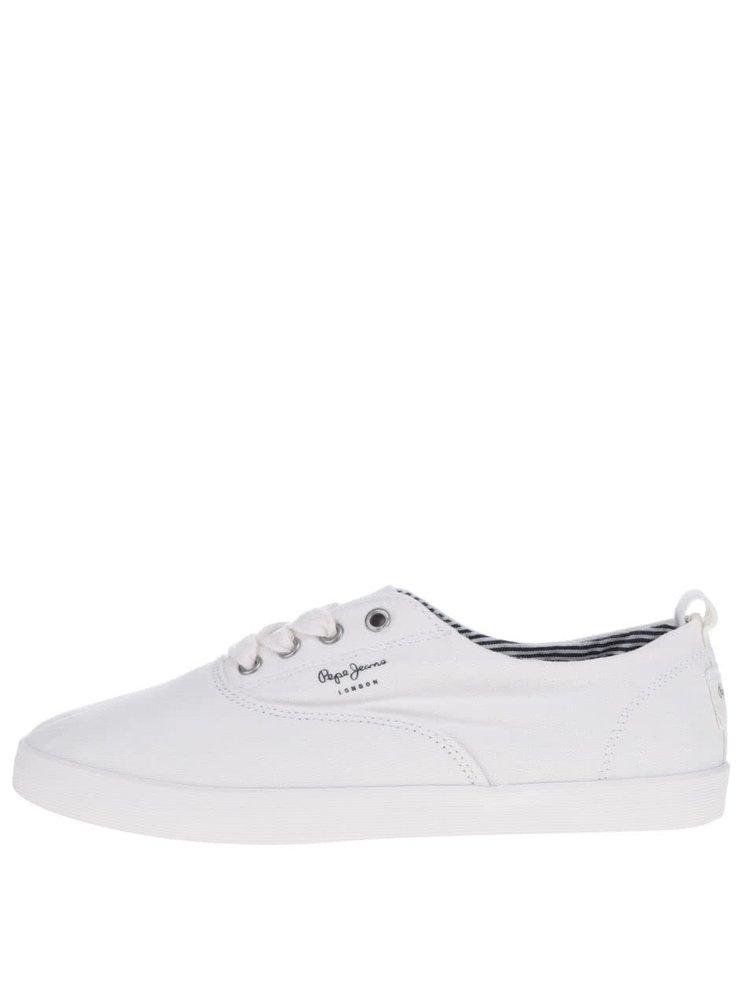 Bílé dámské tenisky s detaily Pepe Jeans Julia Monocrome