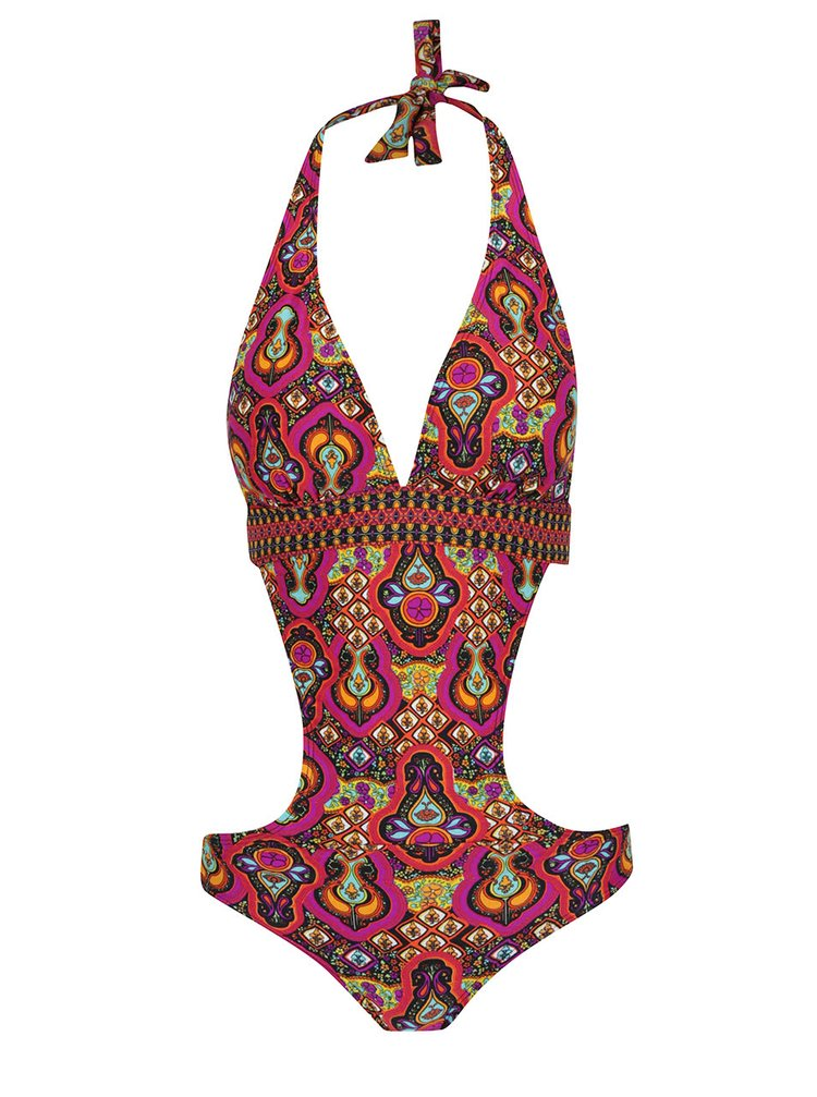 Costum de baie întreg multicolor Relleciga cu model oriental