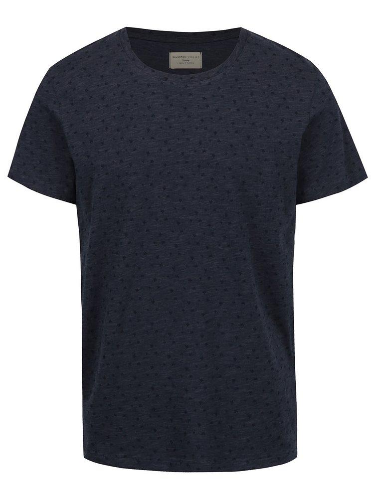 Tmavě modré vzorované triko Selected Homme Flower