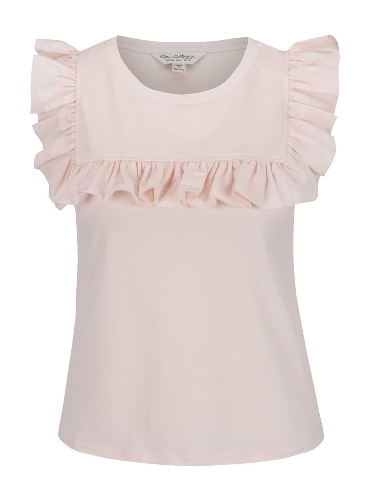 Tricou roz pal Miss Selfridge cu volane decorative