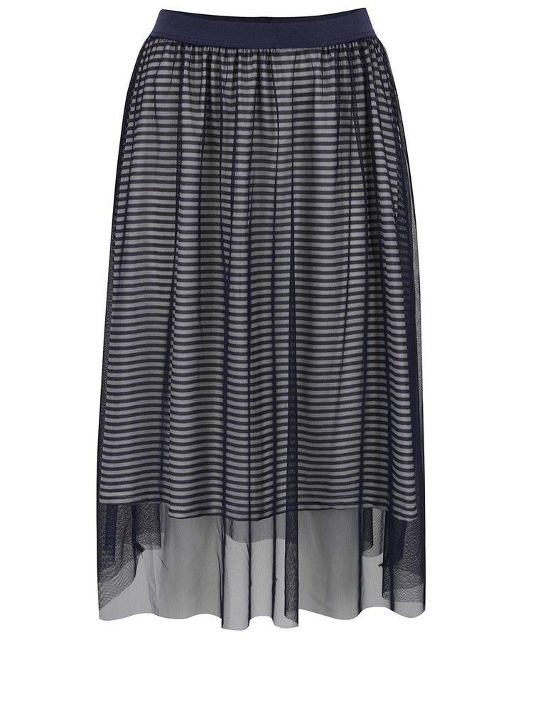 Tmavě modrá tylová sukně s pruhovanou podšívkou ONLY Mesh