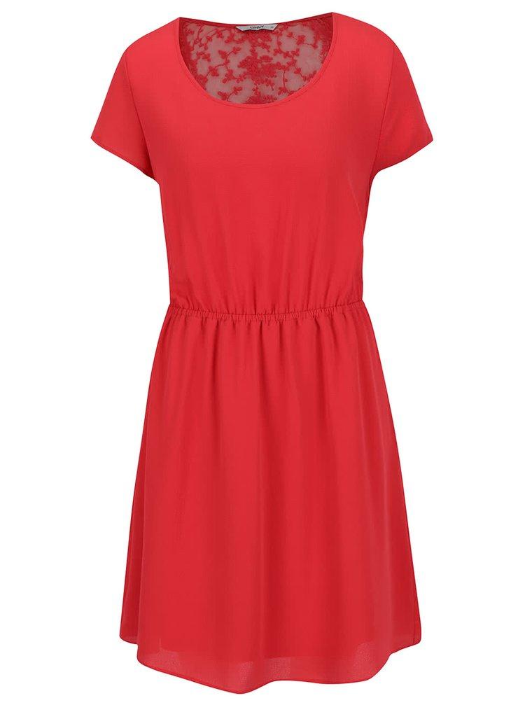 Červené šaty s krajkou na zádech ONLY Glam