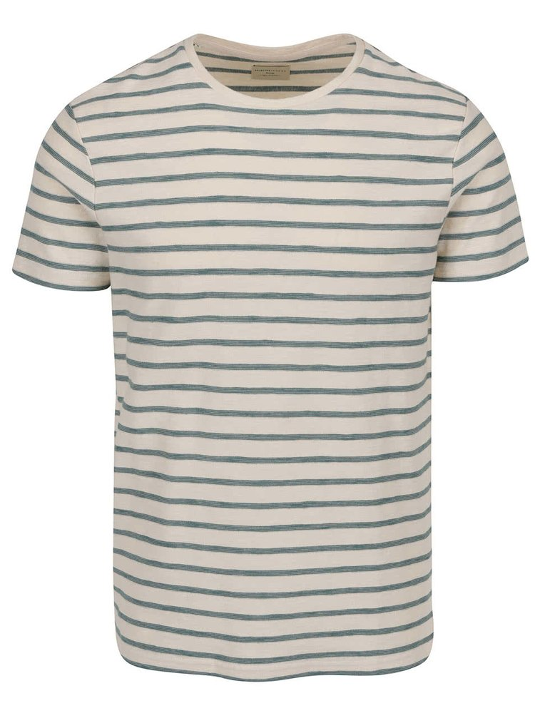 Tricou crem&turcoaz Selected Homme Kris cu model in dungi
