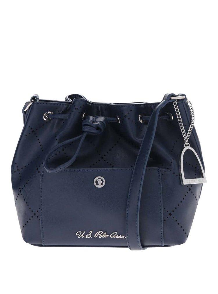 Tmavě modrá perforovaná kabelka s ozdobou ve stříbrné barvě U.S. Polo Assn.