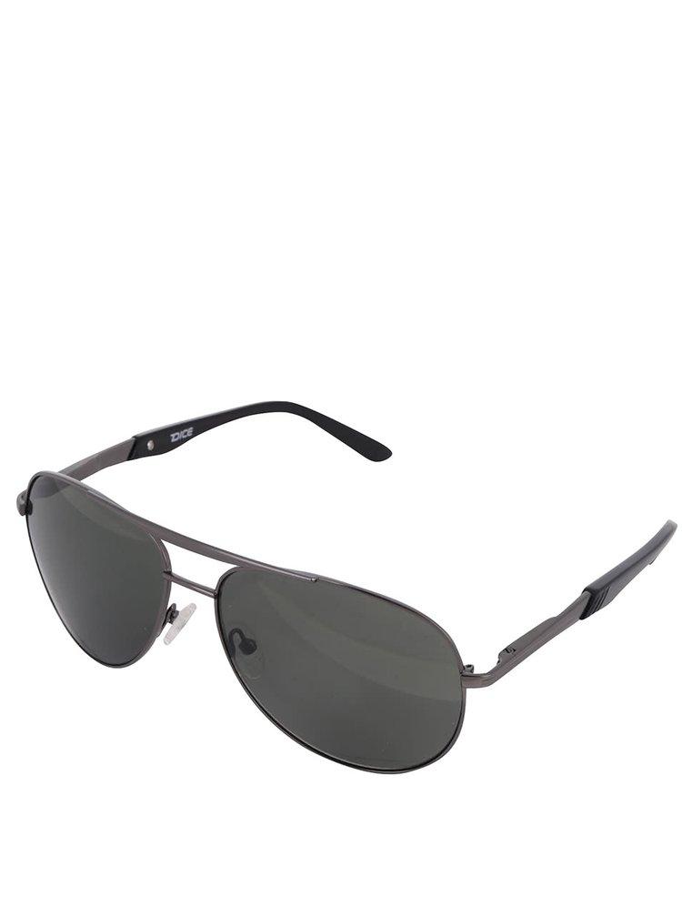 Šedé pánské sluneční brýle se zelenými skly Dice