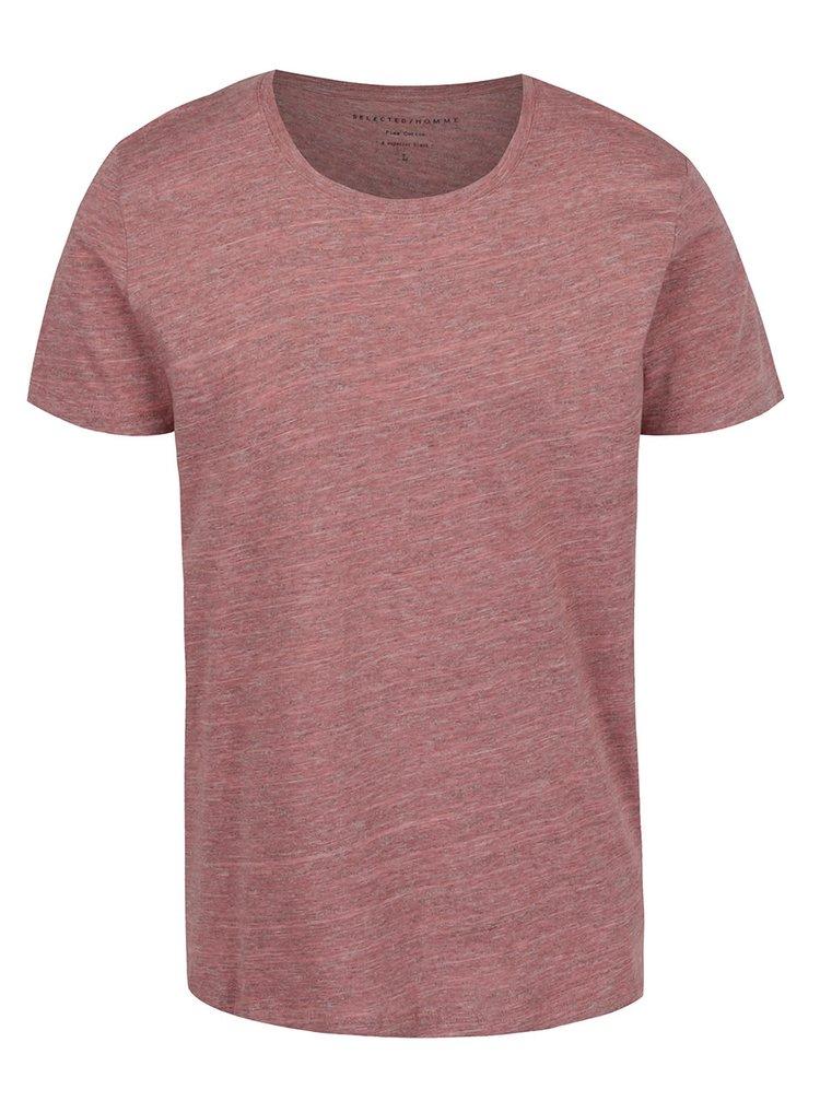 Tricou roz prafuit Selected Homme Pima cu model discret