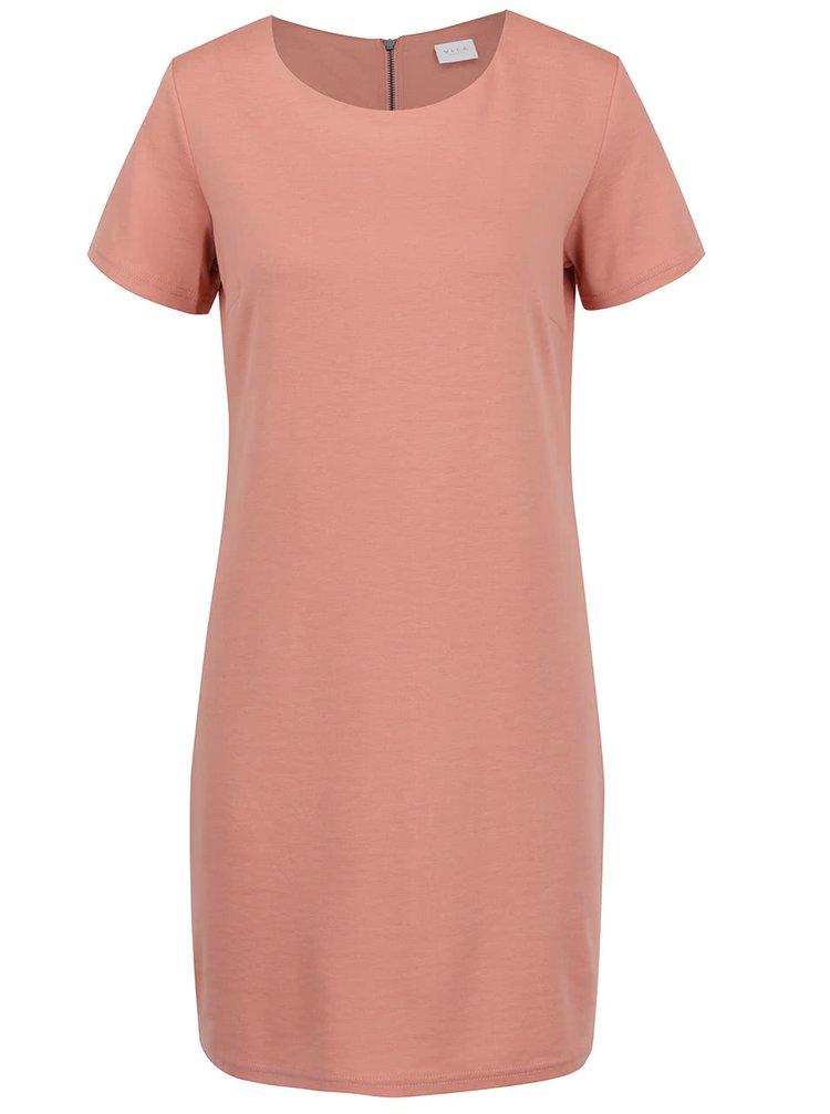Starorůžové šaty s krátkým rukávem VILA Tinny
