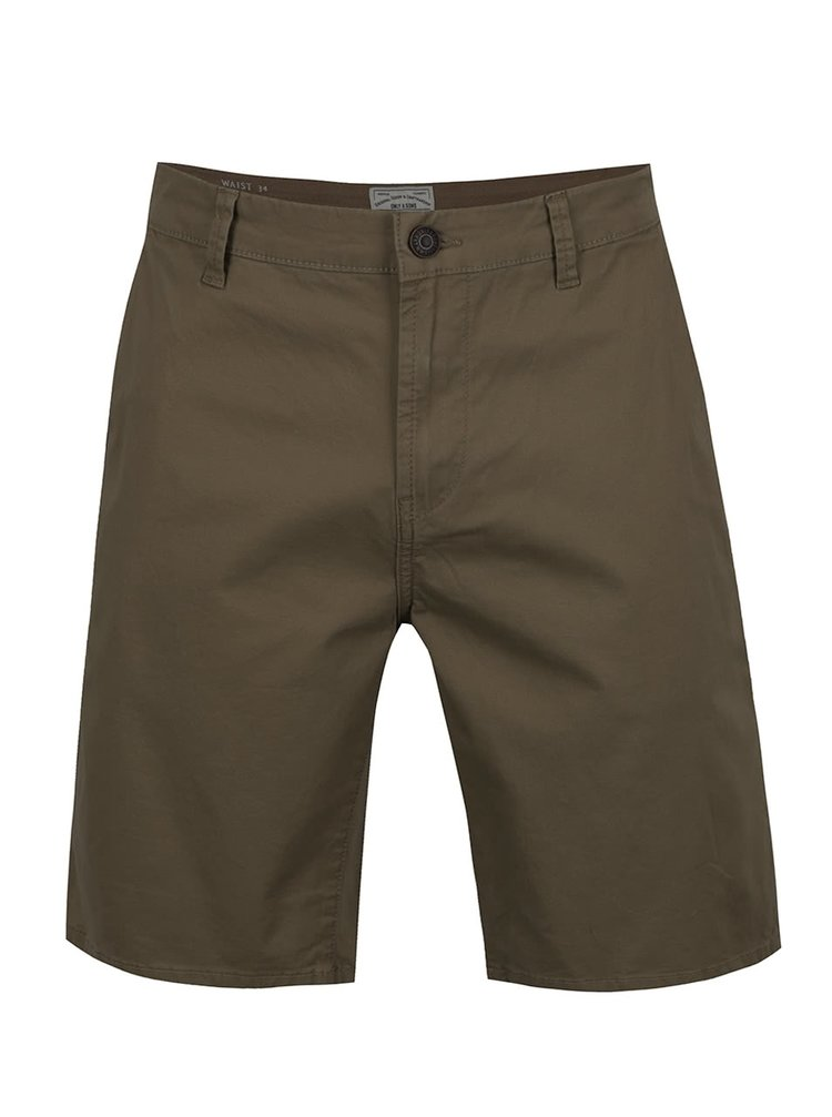 Pantaloni chino scurti verde inchis ONLY & SONS Holm