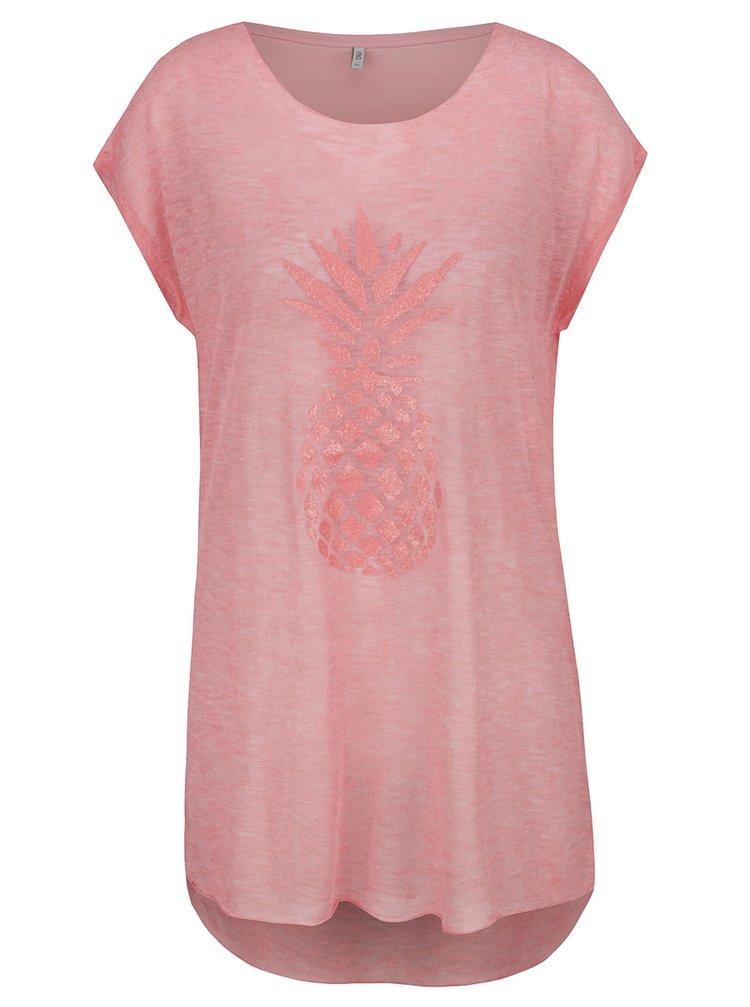 Růžové průsvitné dlouhé tričko s potiskem ananasu ONLY Malou