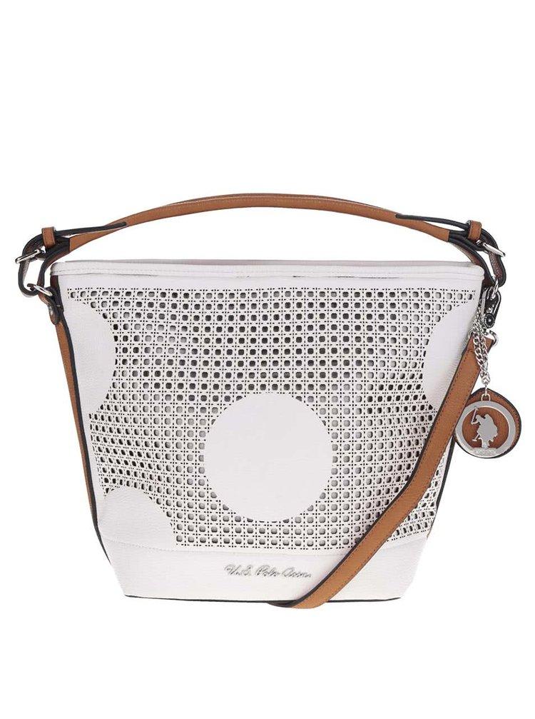Krémová perforovaná kabelka s ozdobou ve stříbrné barvě U.S. Polo Assn.