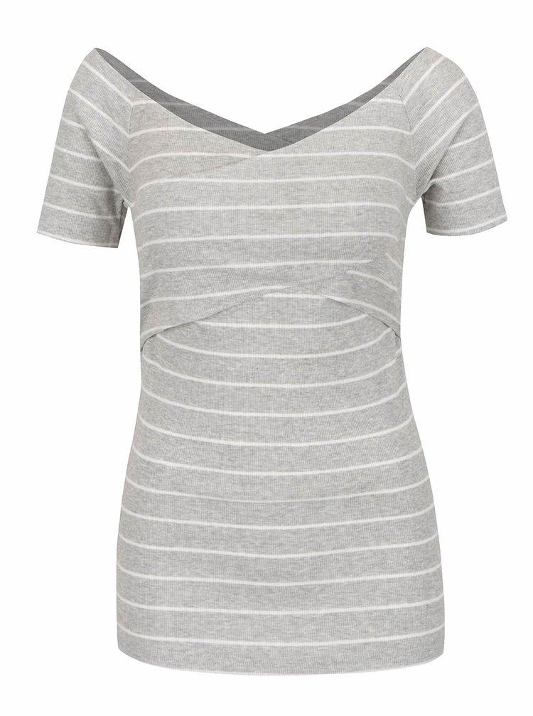 Šedé pruhované tričko s krátkým rukávem ONLY Claudia