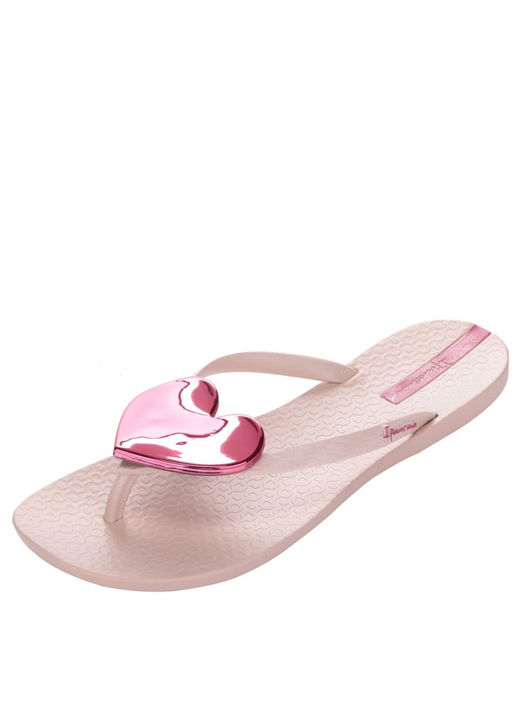Růžové dámské žabky s aplikací ve tvaru srdce Ipanema Maxi Fashion