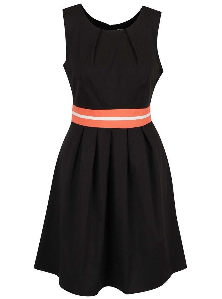 Rochie neagră Apricot cu detaliu portocaliu