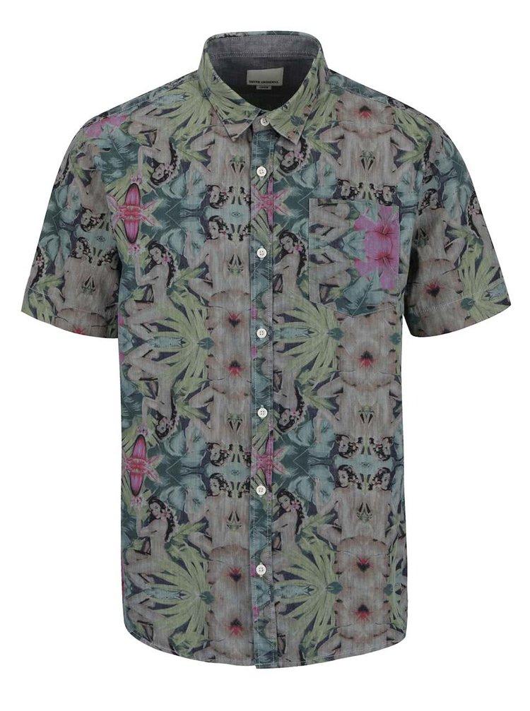 Šedo-zelená vzorovaná košile Shine Original