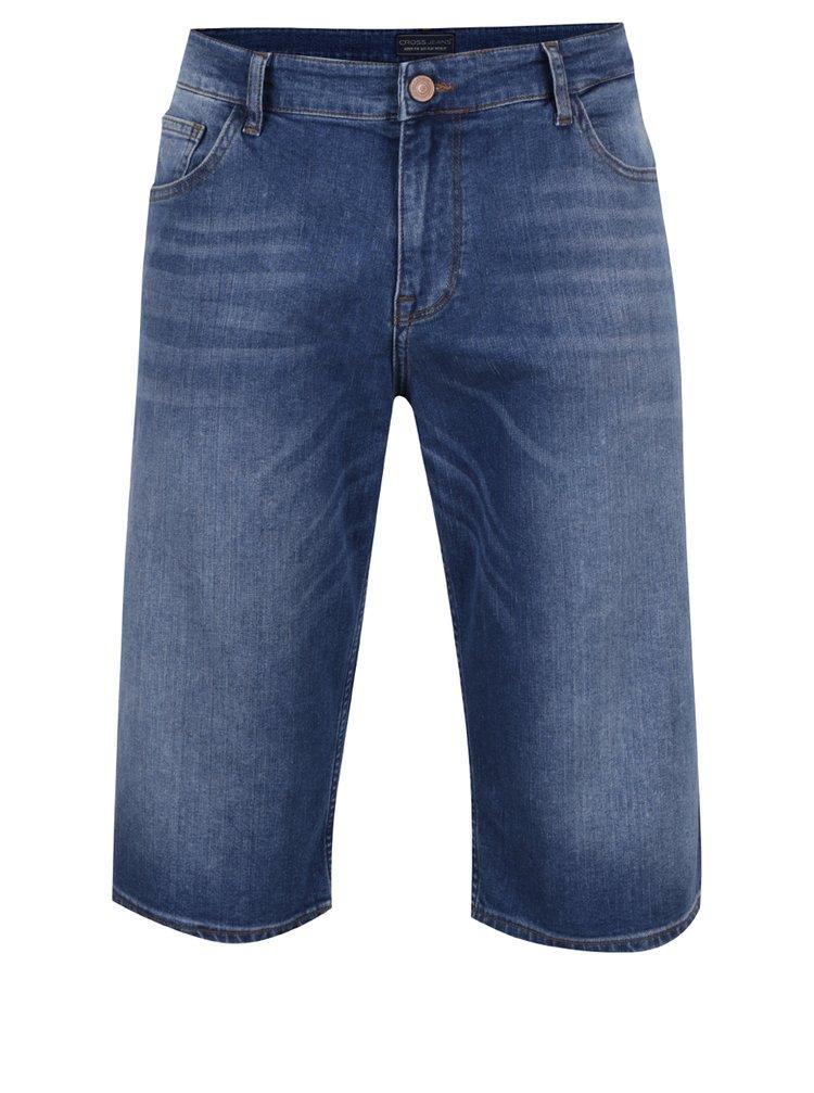 Bermude albastre Cross Jeans din denim cu aspect prespălat