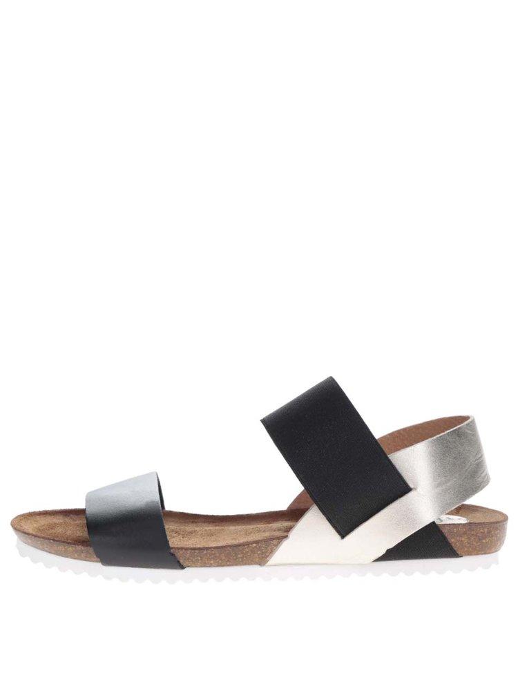 Černé kožené sandály se širokým páskem ve zlaté barvě OJJU