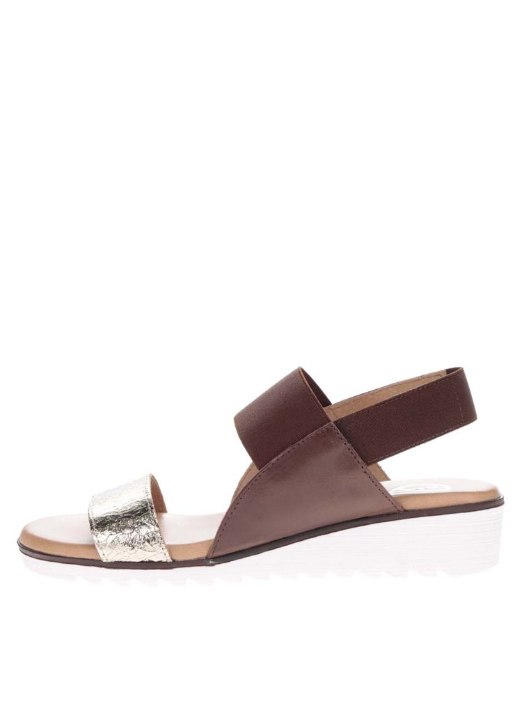 Hnědé kožené sandály s páskem ve zlaté barvě OJJU