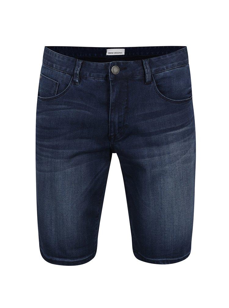Pantaloni scurți albastru închis Shine Original cu aspect prespălat