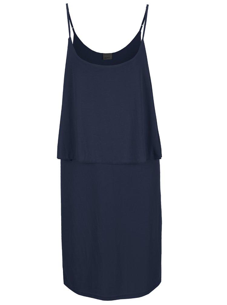 Tmavě modré šaty s volánem VERO MODA Metti