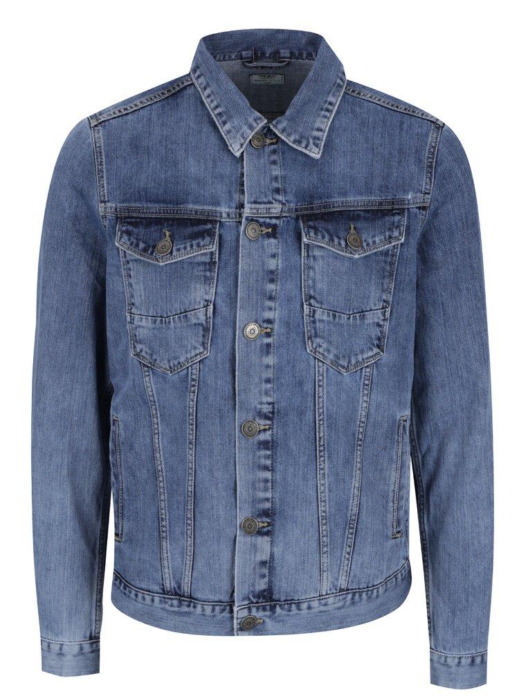 Jacheta albastra Cross Jeans din denim cu croi drept