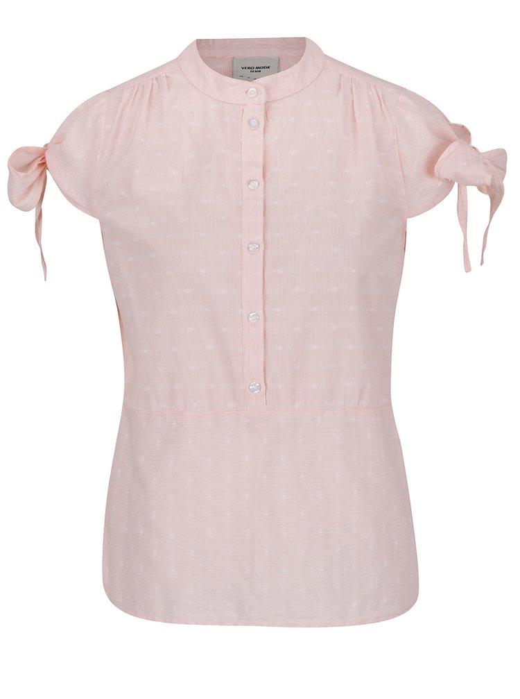 Cămașă roz pal VERO MODA Dot cu panglici