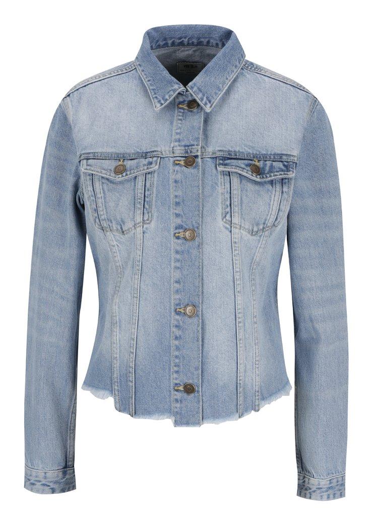 Jacheta albastru deschis Cross Jeans din denim cu aspect deteriorat