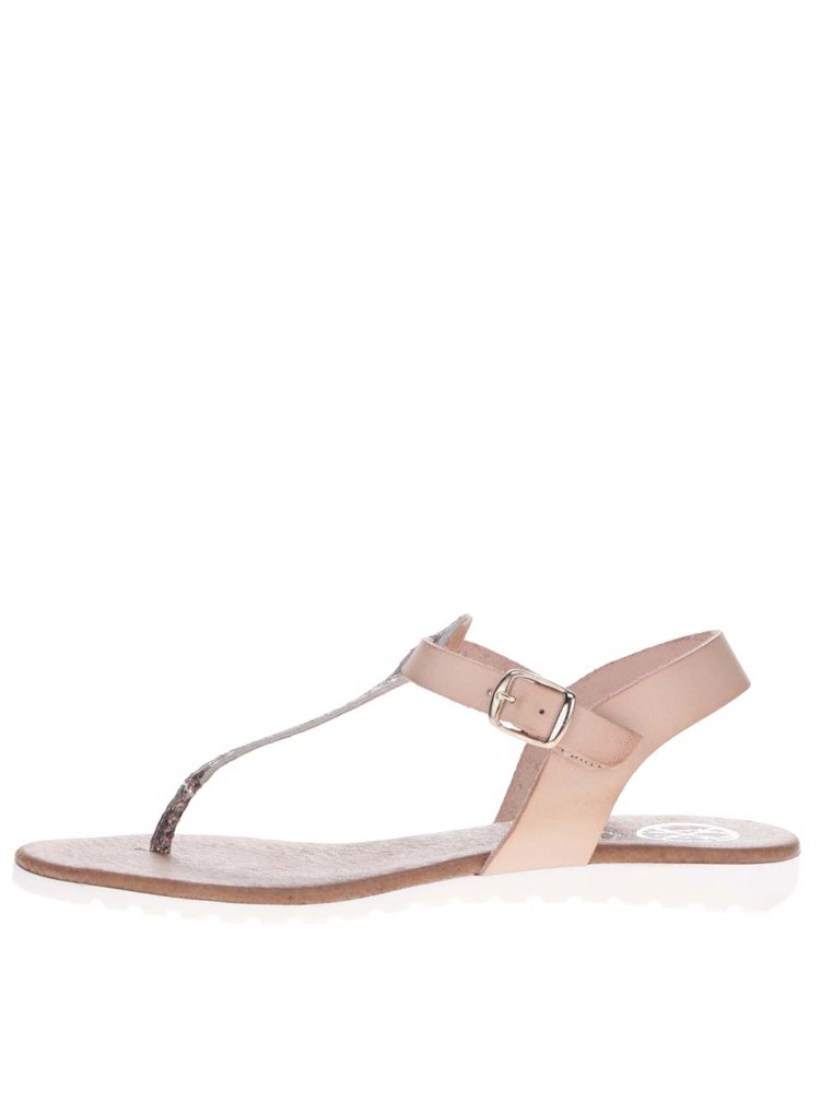 Sandale flip flop din piele cu detaliu bronz OJJU
