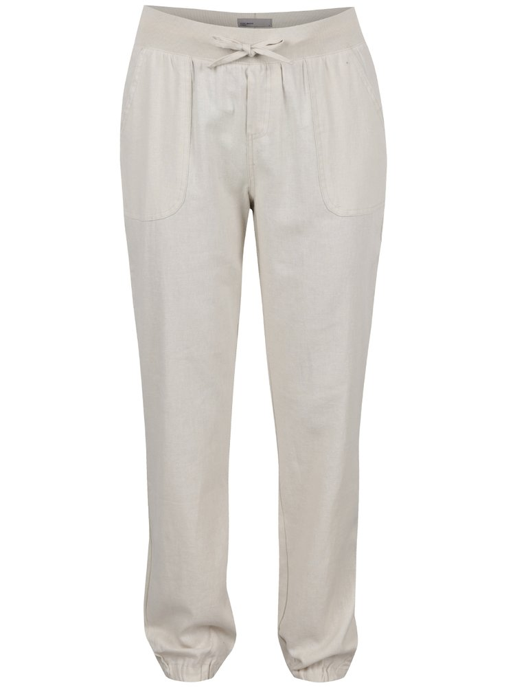 Béžové lněné kalhoty VERO MODA Timilo