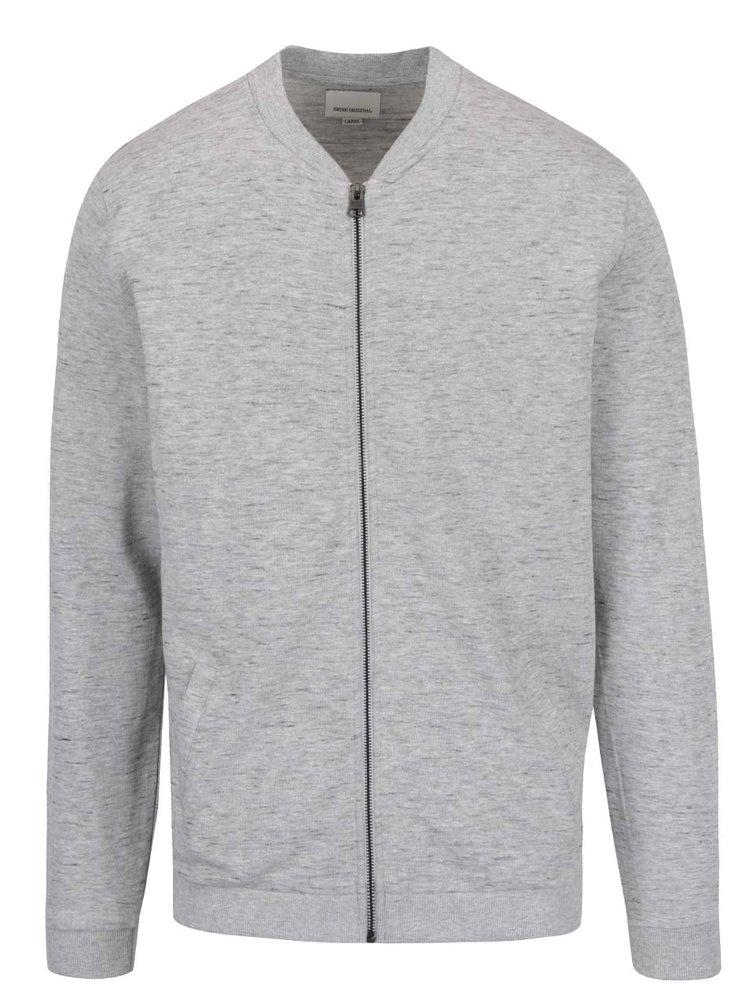 Bluză sport gri melanj Shine Original cu fermoar