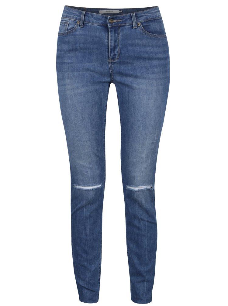 Modré slim džíny s průstřihy na kolenou VERO MODA Seven
