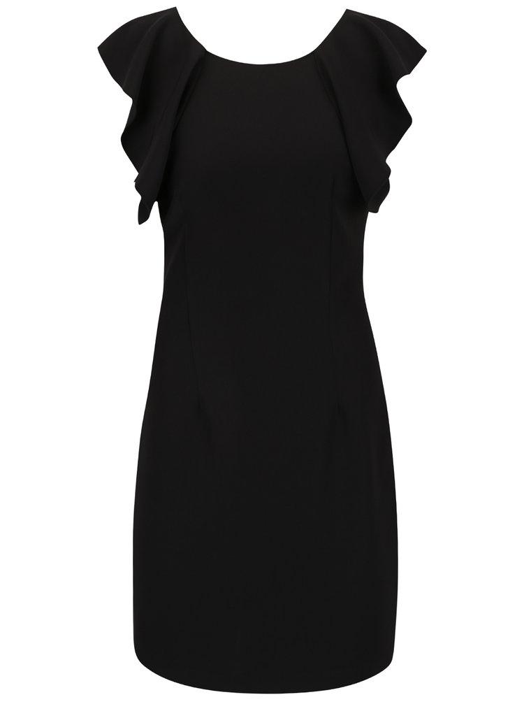 Černé pouzdrové šaty s volány VERO MODA Bambo