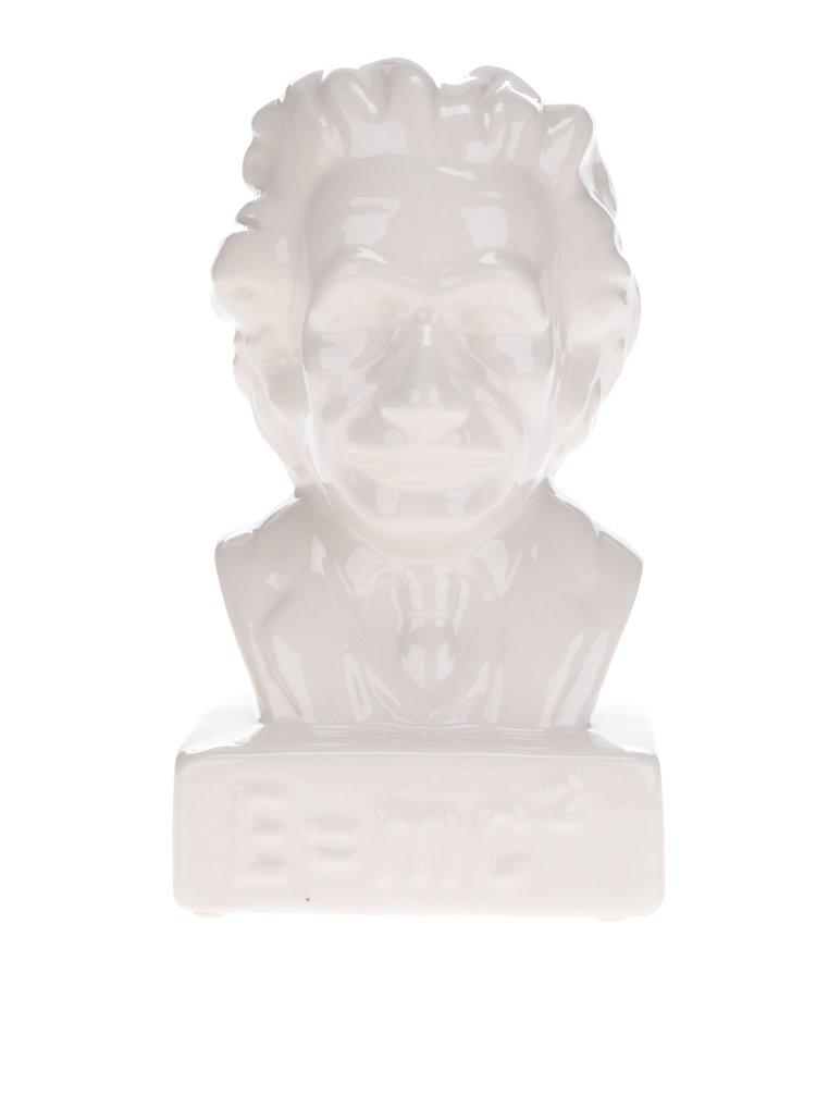 Krémová keramická kasička ve tvaru Einsteina Kikkerland