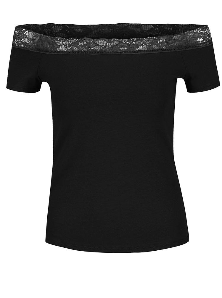 Černé tričko s odhalenými rameny Dorothy Perkins Petite