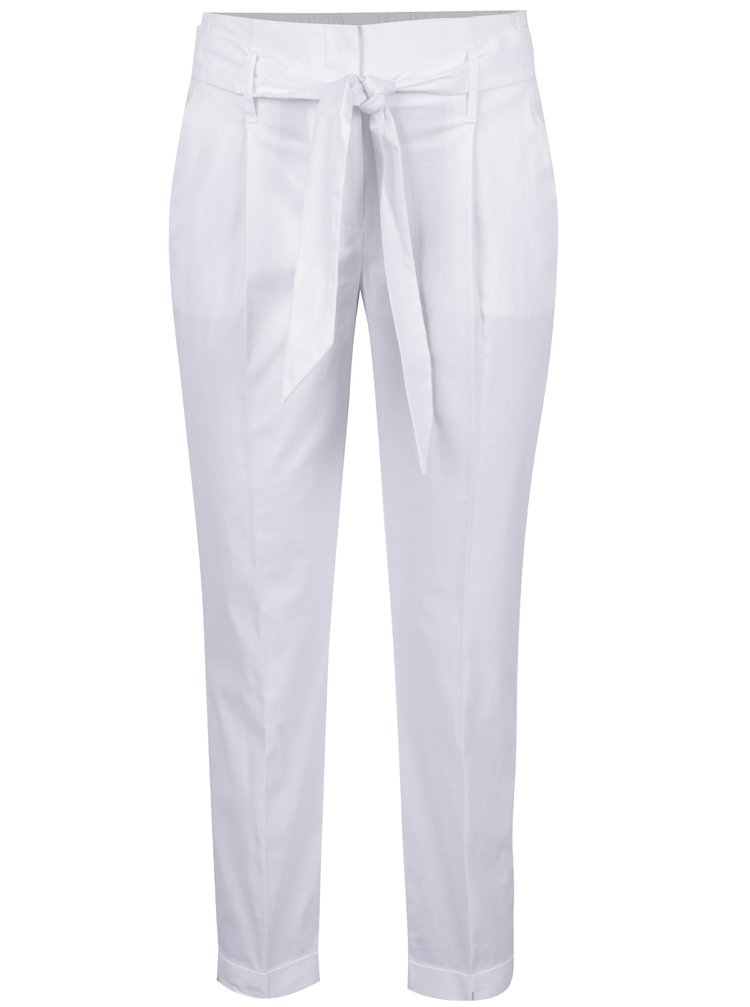 Pantaloni albi Dorothy Perkins cu panglica in talie
