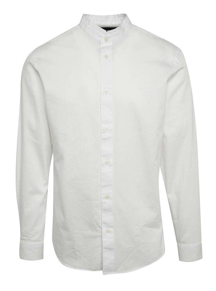 Cămașă albă Selected Homme One Mao slim fit din bumbac cu guler tunică