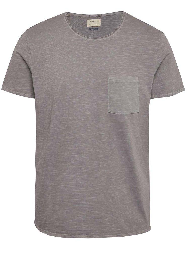 Fialové basic triko s náprsní kapsou Selected Homme Moon