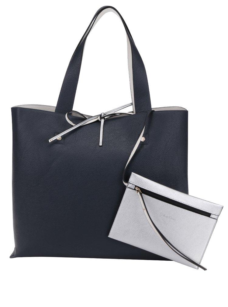 Tmavě modrý oboustranný shopper 2v1 Calvin Klein Jeans Stef Reversible