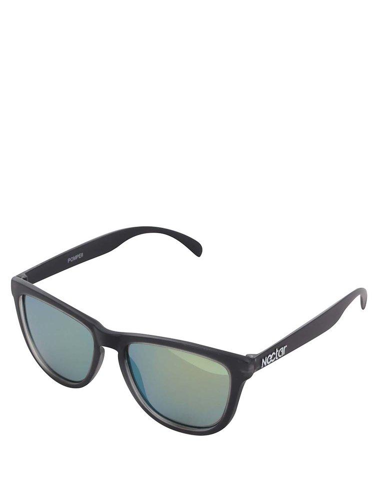 Ochelari de soare negri Nectar Wayfarer cu lentile galbene pentru bărbați