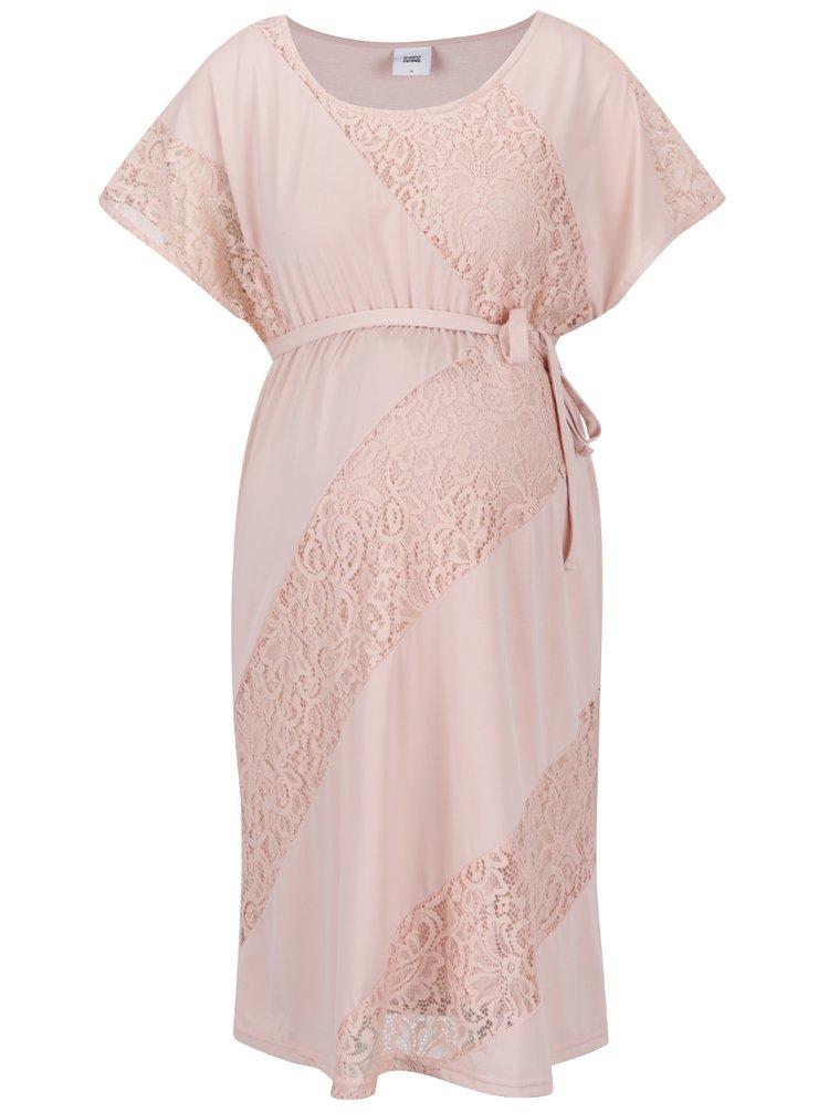 Světle růžové těhotenské šaty s krajkovými detaily Mama.licious Katina