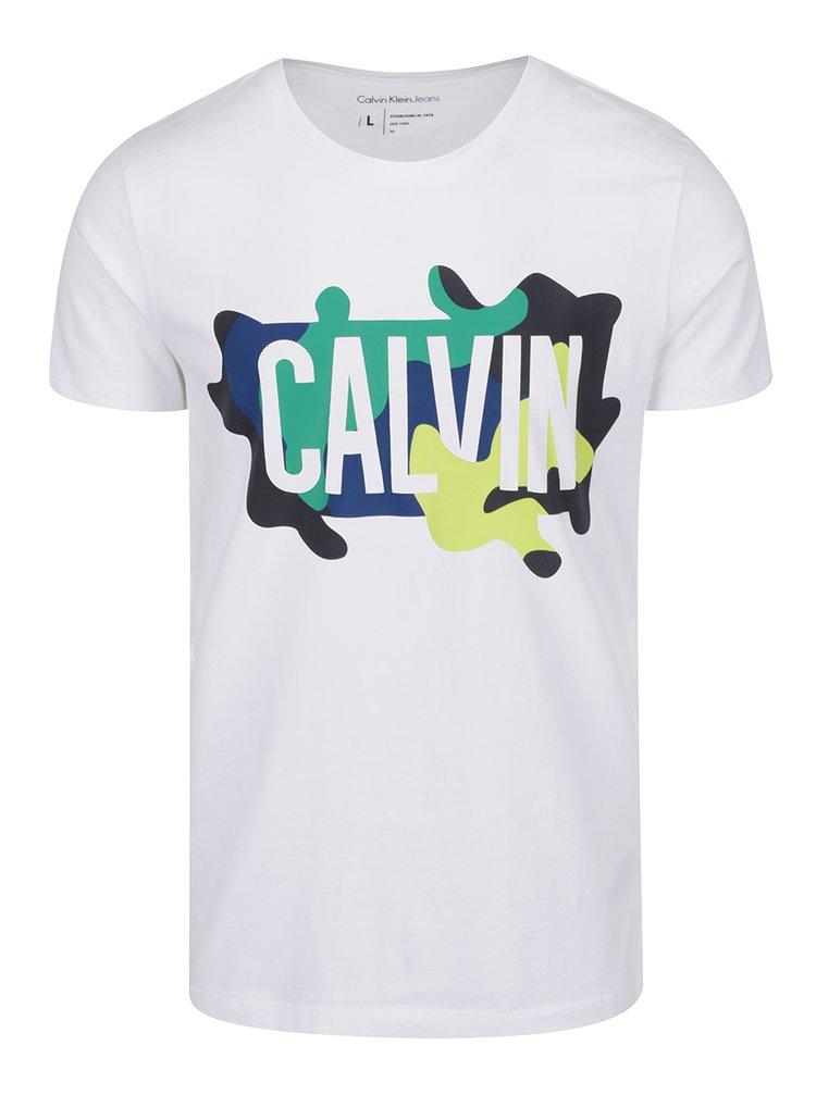 Bílé pánské triko s barevným potiskem Calvin Klein Jeans