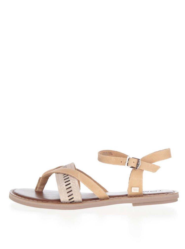Hnědé kožené dámské sandály TOMS
