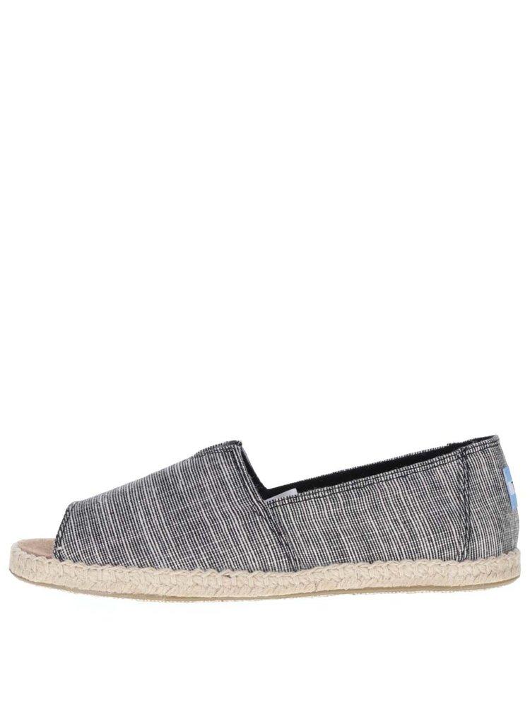 Krémovo-černé dámské pruhované loafers s otevřenou špičkou TOMS