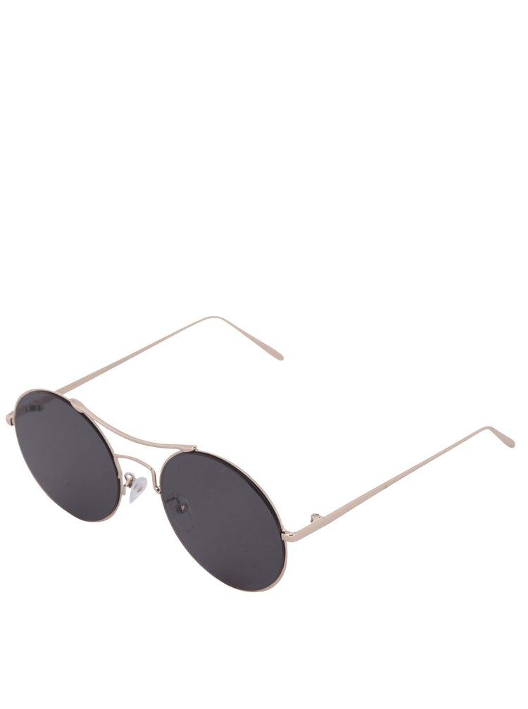 Sluneční brýle v růžovozlaté barvě s černými skly Pieces Kaitlyn