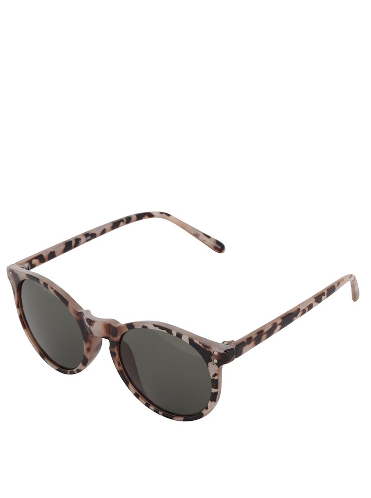 Hnědo-béžové vzorované sluneční brýle Pieces Kacey