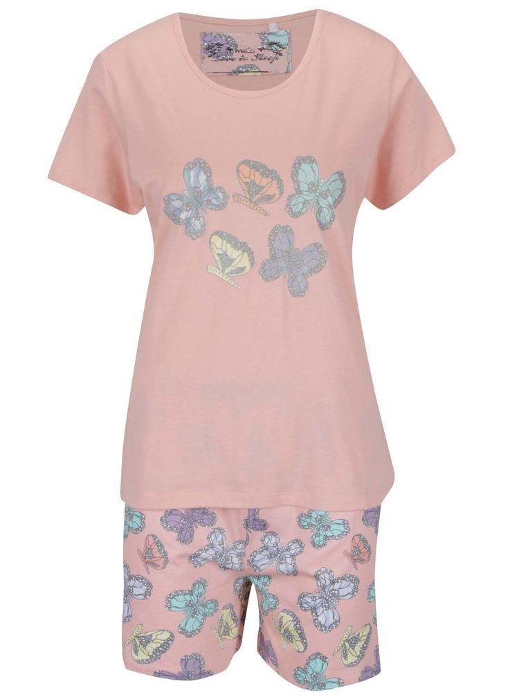 Světle růžové dámské pyžamo s motivem motýlů M&Co