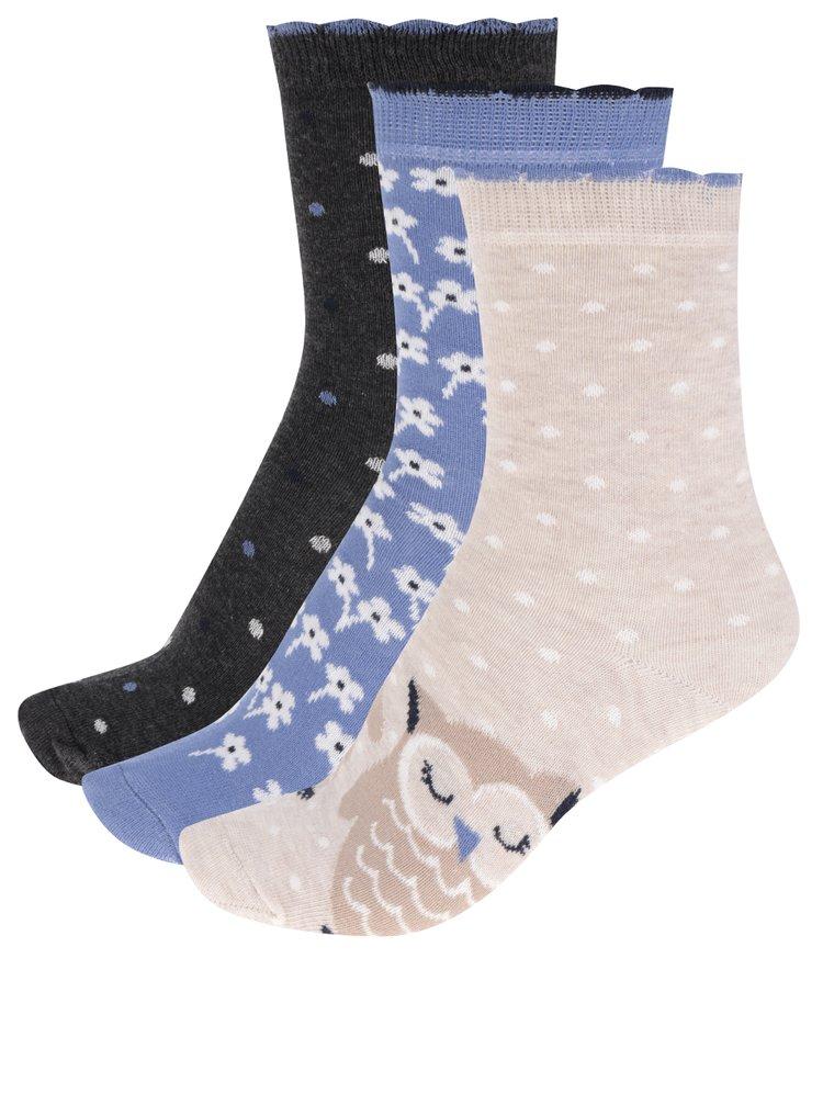 Set de 3 perechi de șosete bej & albastru M&Co cu model